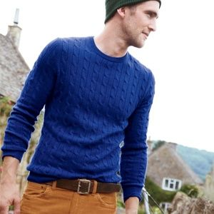 J Crew M Royal blue cashmere cableknit sweater